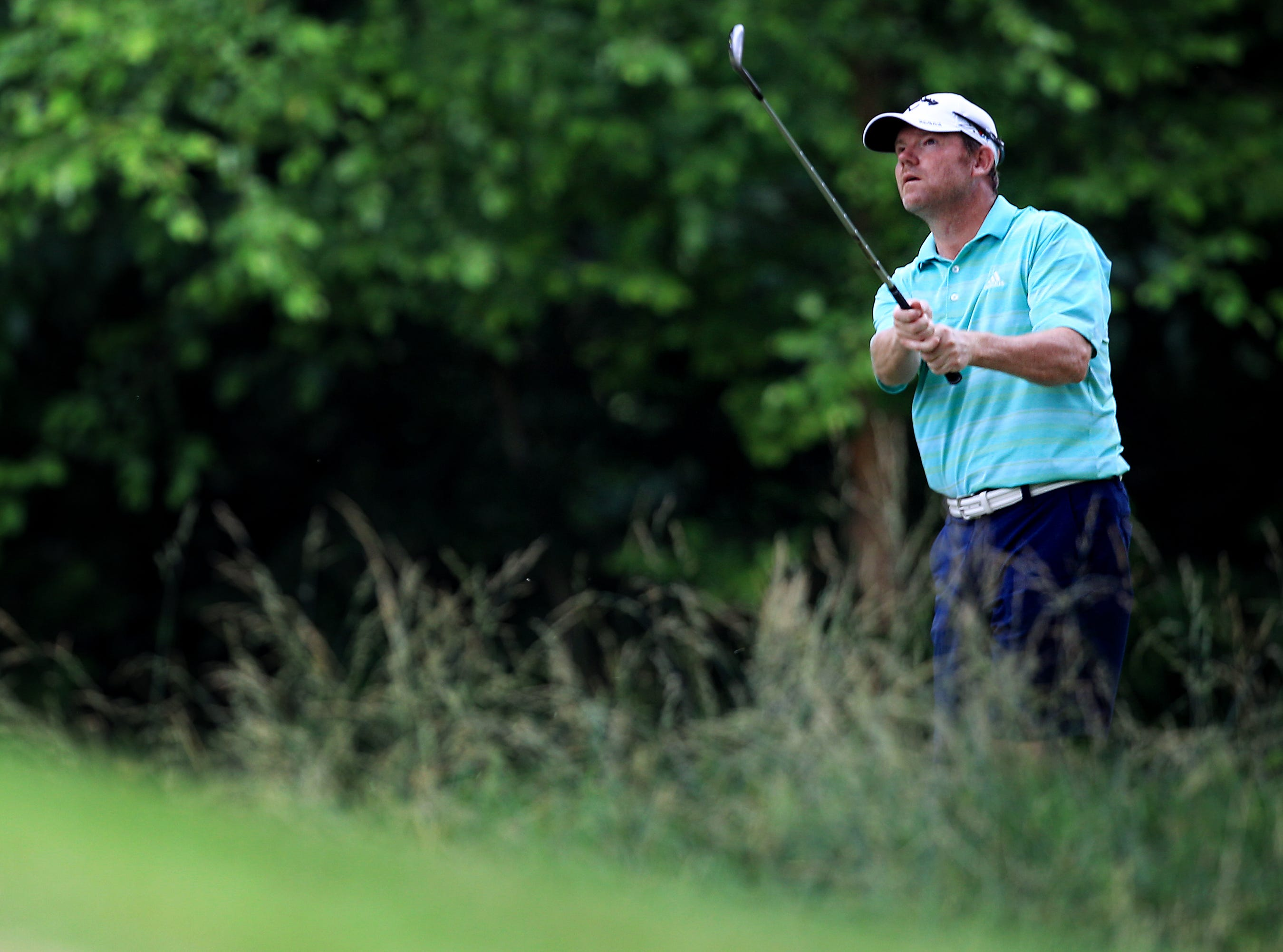 June 8, 2015 - Memphian Shaun Micheel hits out of the rough during United States Golf Association 2015 U.S. Open sectional qualifying at Germantown Country Club. (Mike Brown/The Commercial Appeal)