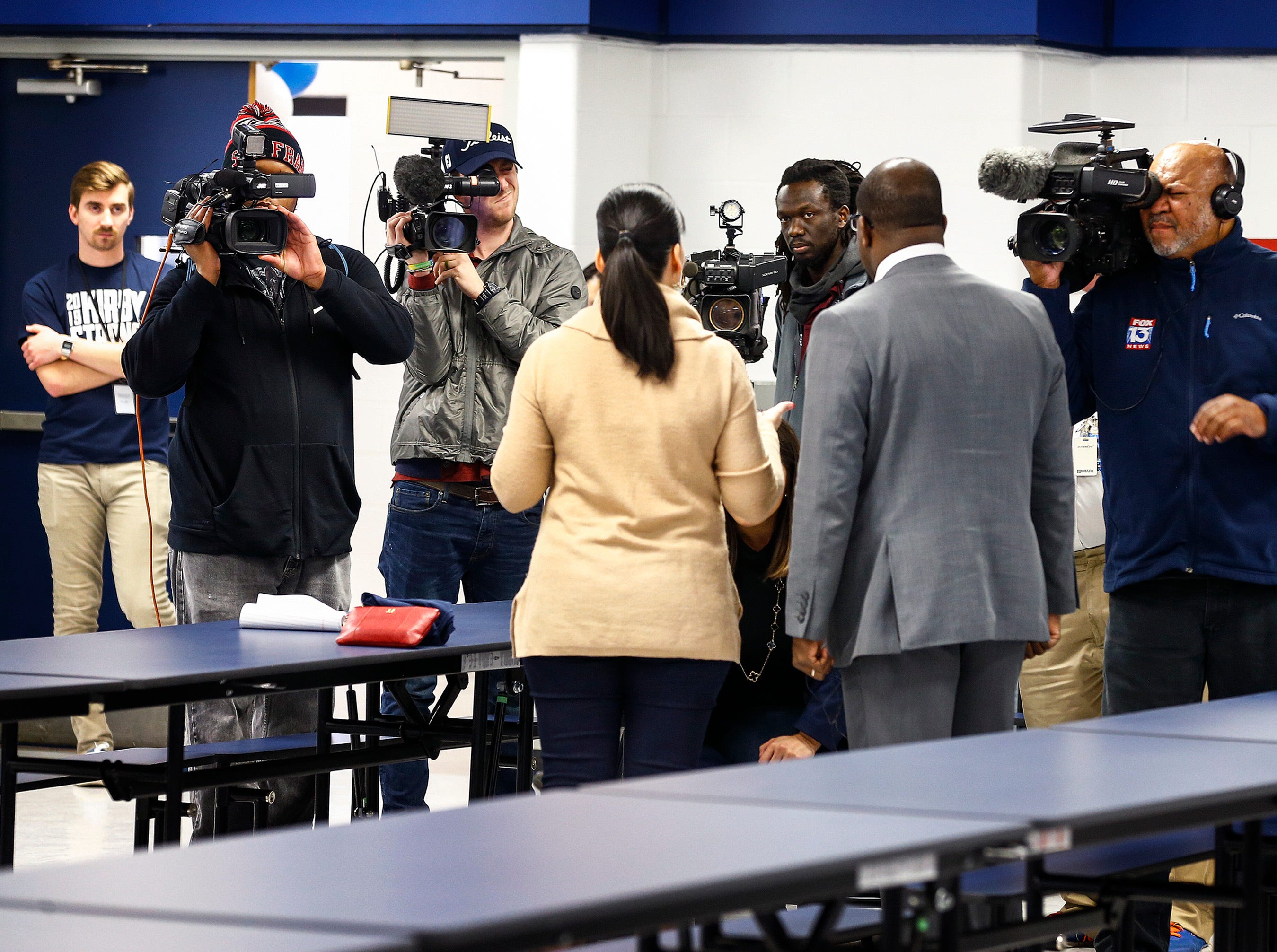 Kirby High School Principal Sheevon Hunter and Shelby County School's Chief Communications Officer Natalia Powers lead a media tour of the updated school that will reopen on Monday following months of rat abatement.
