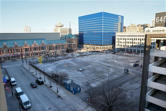 The city is moving ahead with plans to extend The Hop streetcar to the Wisconsin Center convention hall. Plans call for the line to travel north from St. Paul Avenue on Phillips Avenue, turn west along a proposed plaza in this parking lot, and continue south on Fifth Street back to St. Paul Avenue.