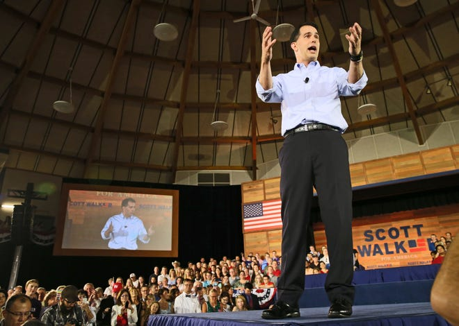 Gov. Scott Walker announces he is running for president of the United States at the Expo Center in Waukesha on July 13, 2015.