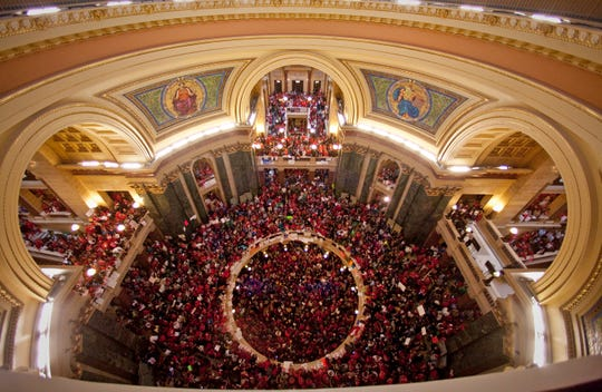 The view from the dome as thousands rally inside of the State Capitol and jam the doors to leading to the Senate in Madison Feb. 17, 2011. The crowd grows larger each day at the capital to protest Governor Scott Walker's Budget Repair Bill.