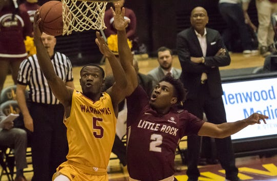 ULM guard Daishon Smith (5) continues to lead the Sun Belt Conference in scoring at 21.6 points per game. The senior transfer from Wichita State is the reigning conference player of the week.