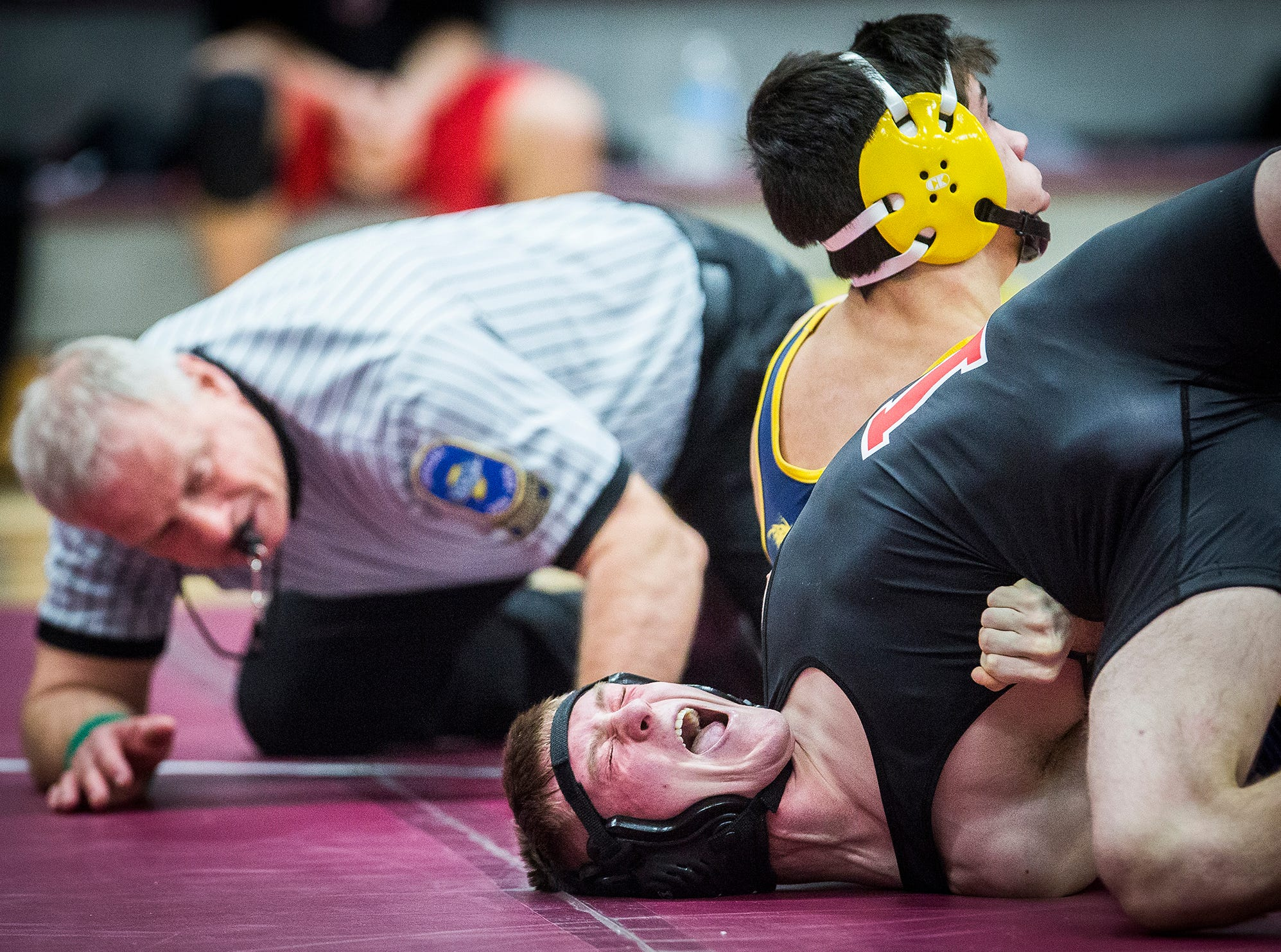 Delta, Cowan, Wapahani, Wes-Del, Daleville and Yorktown compete in the Delaware County Wrestling Tournament at Wes-Del High School Thursday, Jan. 3, 2019.