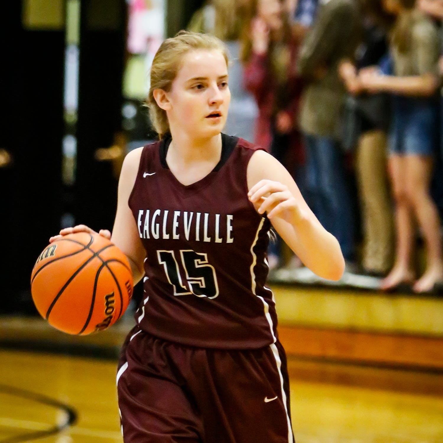 Eagleville's Makayla Moates directs traffic during Thursday's win at Central Magnet.