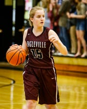 Eagleville's Makayla Moates directs traffic during a recent game. Moates was voted area girls athlete of the week for Jan. 7-12.