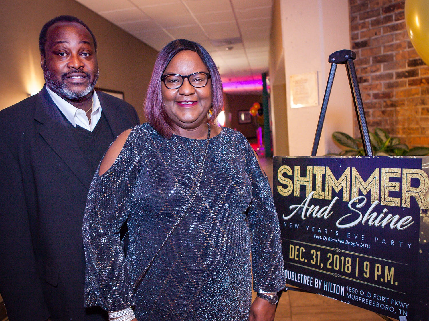 Ezzard and Deborah King at the Pyramid Foundation's Shimmer and Shine New Year's Eve party, held at DoubleTree Hotel in Murfreesboro.