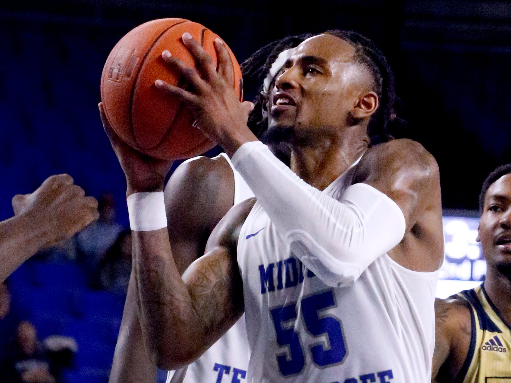 MTSU's guard Antonio Green (55) goes up for  a shot during the game against FIU on Thursday Jan. 3, 2019, at MTSU.