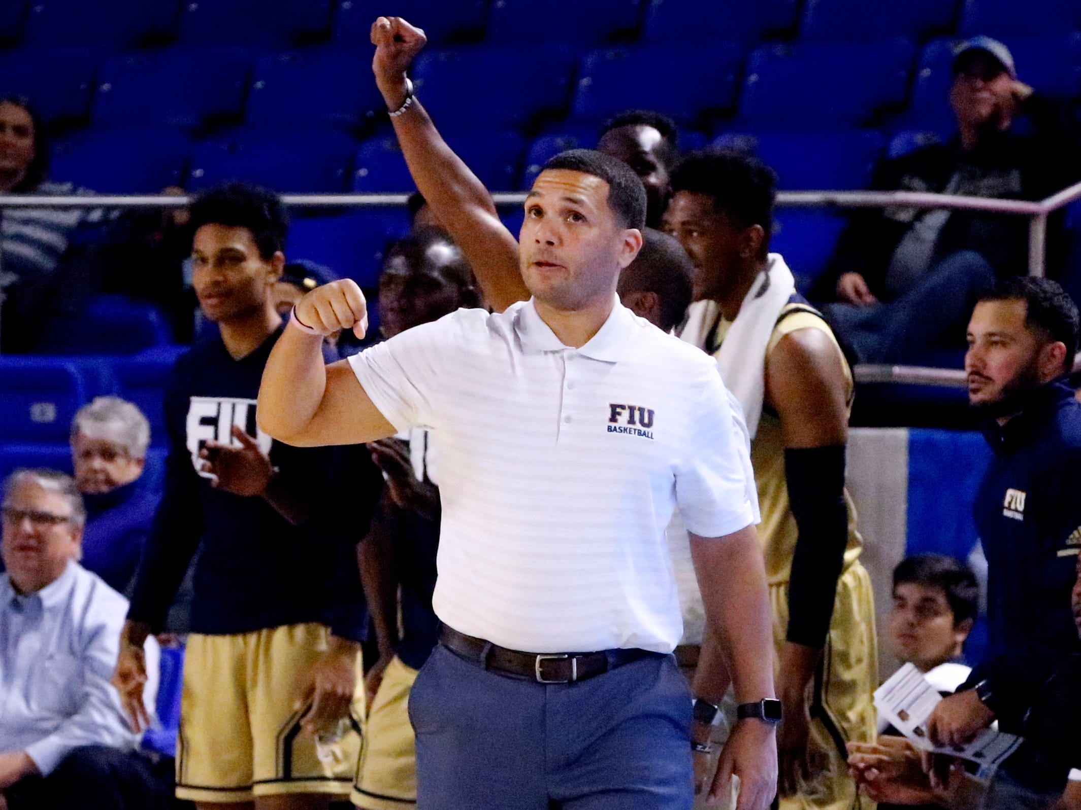 FIU's head coach Jeremy Ballard on the sidelines during the game against MTSU on Thursday Jan. 3, 2019, at MTSU.
