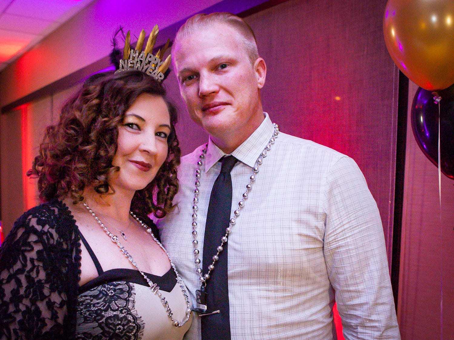 Crystal Smith and Joseph Jones at the Pyramid Foundation's Shimmer and Shine New Year's Eve party, held at DoubleTree Hotel in Murfreesboro.
