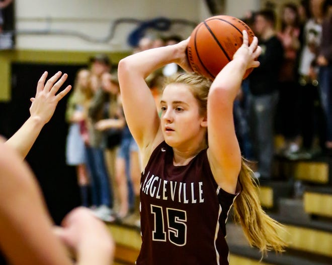 Eagleville's Makayla Moates looks to pass during a recent game. Moates was voted area girls athlete of the week for Jan. 21-26.