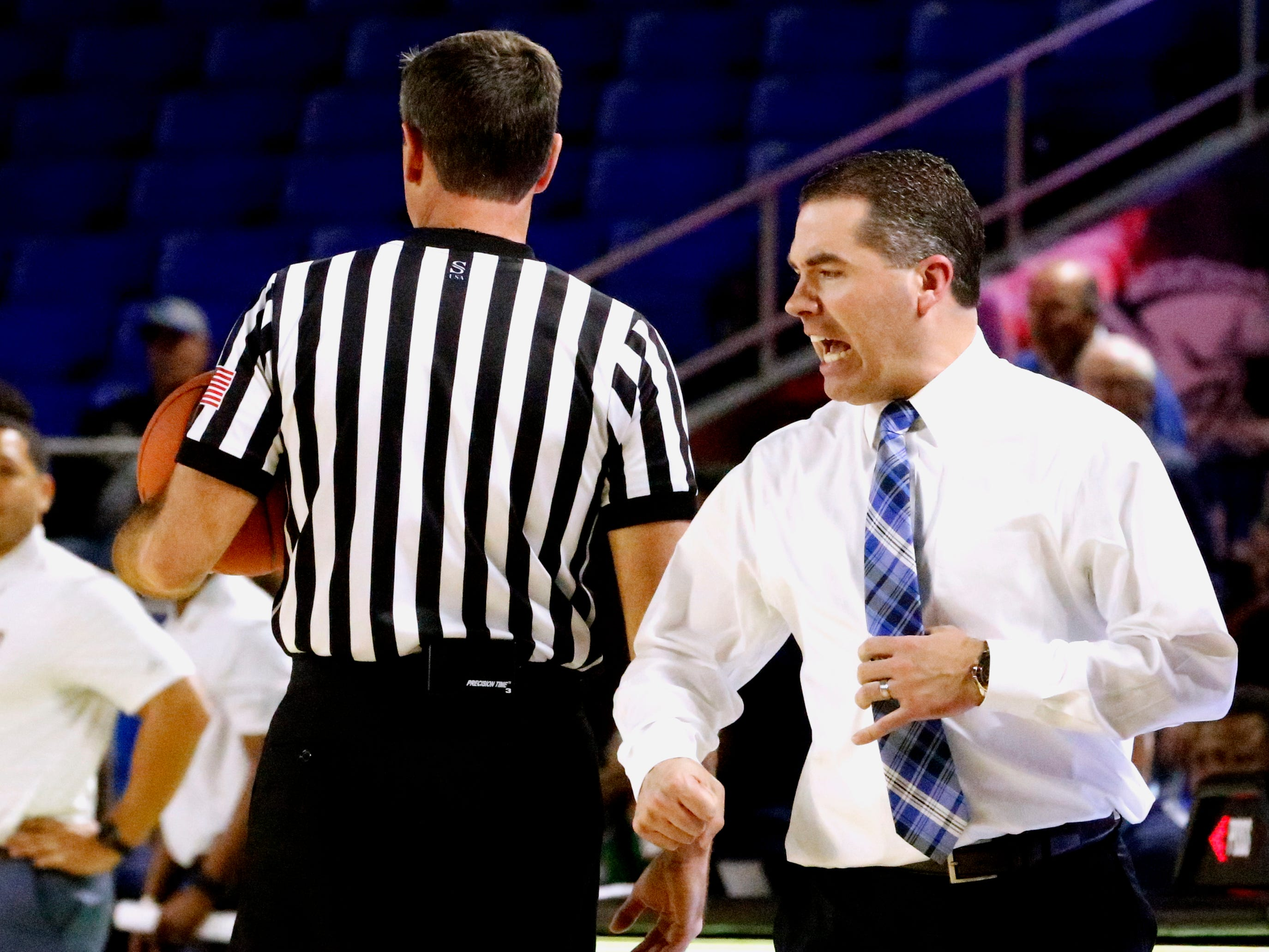 MTSU's head coach Nick McDevitt argued  call during the game against FIU on Thursday Jan. 3, 2019, at MTSU.