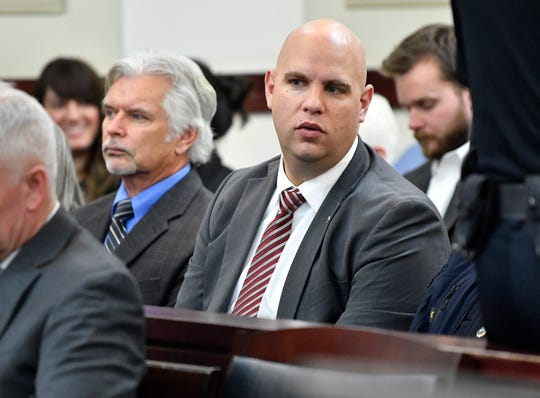 James Smallwood, president of the Nashville Fraternal Order of Police, sits during a preliminary hearing for Metro Police Officer Andrew Delke at the Justice A.A. Birch Building Friday, Jan. 4, 2019, in Nashville, Tenn. Delke is charged with criminal homicide in the on-duty shooting of Daniel Hambrick
