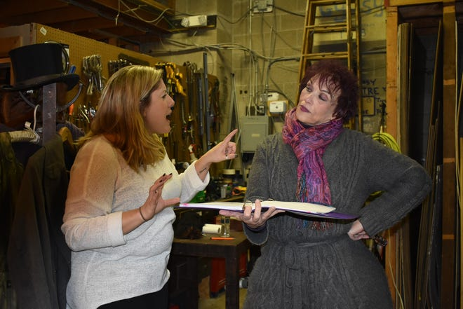 "Jessica Phelan, left, and Roseann Ruggiero rehearse a scene from ""Perfectly Compliant."" The absurdist comedy, written by Lauri MacMillan and Dan Jennings, is one of eight one-act plays that make up ""Chester's Own."""