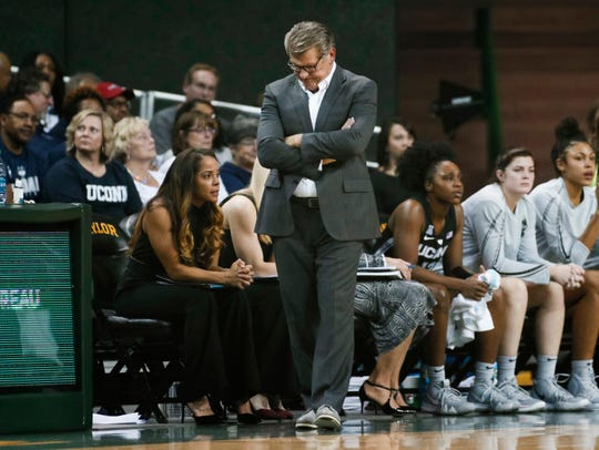 Connecticut coach Geno Auriemma walks in front of the bench during the first half of the team's NCAA college basketball game against Baylor on Thursday, Jan. 3, 2019, in Waco, Texas. Baylor defeated No. 1 Connecticut 68-57.