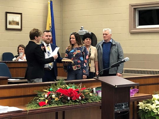 Daniel Golabek is sworn in as council president in Elmwood Park.