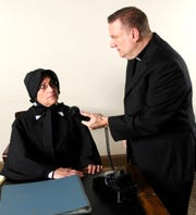 "Sister Aloysius (Carla Kendall) suspects that Father Flynn (Greg Allen) has been molesting an eighth-grade boy in ""Doubt."""