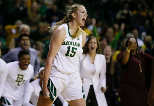 Baylor forward Lauren Cox (15) yells after making a basket and drawing a foul against Connecticut during the second half of an NCAA college basketball game Thursday, Jan. 3, 2019, in Waco, Texas. Baylor defeated No. 1 Connecticut 68-57.