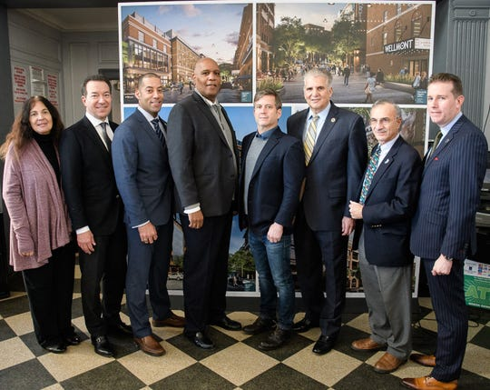 Participating in the groundbreaking of the new $135 million mixed-use Arts & Entertainment District in Downtown Montclair were: (l-r) Township Councilwoman Robin Schlager; Pinnacle Companies President and CEO Brian Stolar; Montclair Deputy Mayor Sean Spiller; Montclair Mayor Robert Jackson; Ironstate Development Company President and CEO David Barry; Essex County Executive Joseph DiVincenzo Jr.; Township Councilman Robert Russo; and Essex County Freeholder President Brendan Gill.
