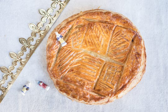 The galette des rois cake from Choc O Pain comes with a paper crown and is filled with the figures of the three kings.