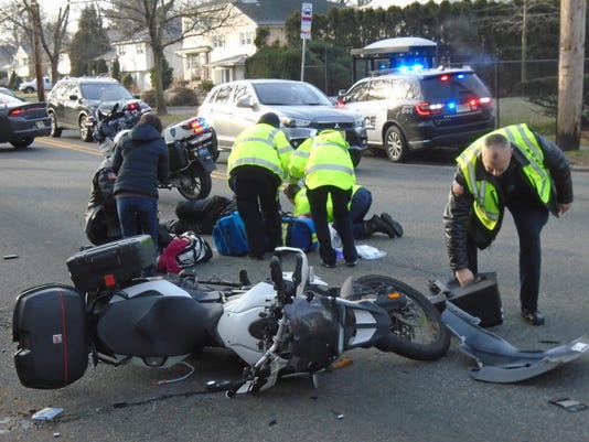 Motorcycle collides with car in Glen Rock NJ Friday morning