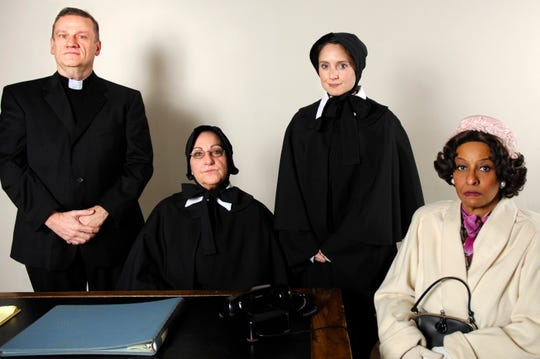 "The Barn Theatre production of ""Doubt,"" the award-winning drama about a priest suspected of inappropriately touching a young boy, stars Greg Allen, left to right, Carla Kendall, Katherine Mallon, and Leslie Silverman."