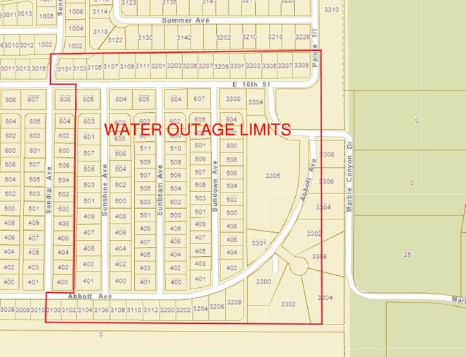 The City of Alamogordo has scheduled a water outage  for the area outlined in red.