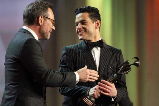 "Rami Malek, lead actor of ""Bohemian Rhapsody,"" receives the Breakthrough Performance Award at the Palm Springs International Film Festival on Jan. 3, 2019."