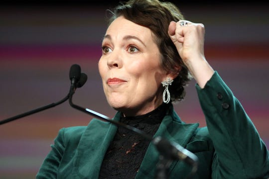 Olivia Colman gives her speech for getting the Desert Palm Achievement Award, on Thursday, January 3, 2018 at the Palm Springs International Film Festival Gala in Palm Springs.