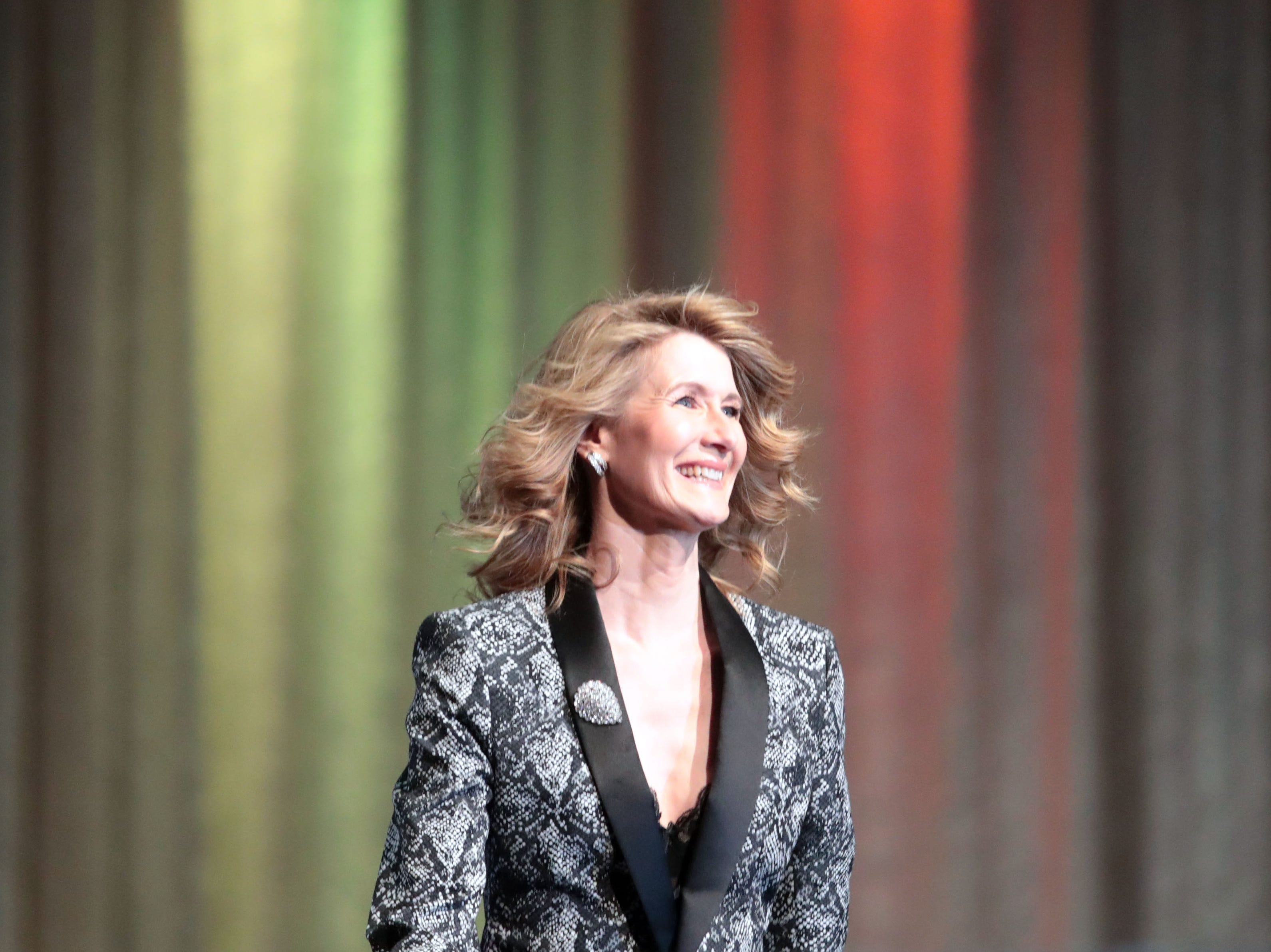 Laura Dern on stage to present the Breakthrough Performance Award Thursday, January 3, 2018 at the Palm Springs International Film Festival Gala in Palm Springs.