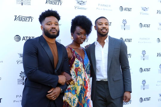 Ryan Coogler, left, Danai Gurira and Michael B. Jordan arrive at Variety's Creative Impact Awards and 10 Directors to Watch during the Palm Springs International Film Festival at the Parker Palm Springs on Friday, January 4, 2019.