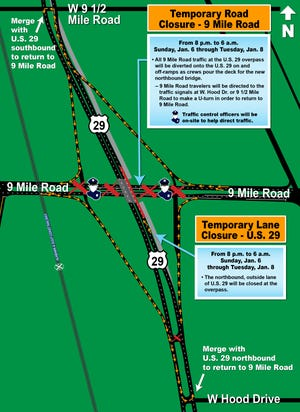 Road closures for U.S. 29 and Nine Mile Road.
