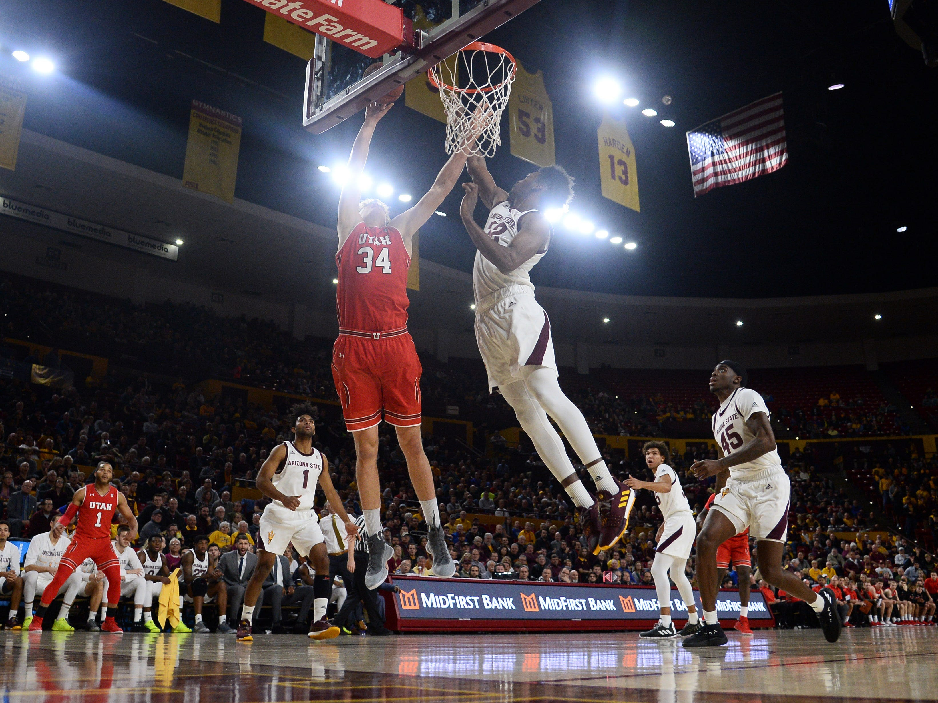 Jan 3, 2019; Tempe, AZ, USA; Utah Utes center Jayce Johnson (34) shoots the ball over Arizona State Sun Devils forward De'Quon Lake (32) during the first half at Wells Fargo Arena (AZ). Mandatory Credit: Joe Camporeale-USA TODAY Sports