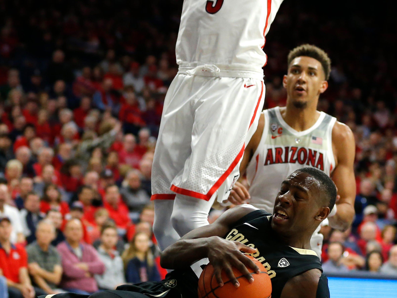 Colorado guard McKinley Wright IV (25) in the first half during an NCAA college basketball game against Arizona, Thursday, Jan. 3, 2019, in Tucson, Ariz. (AP Photo/Rick Scuteri)