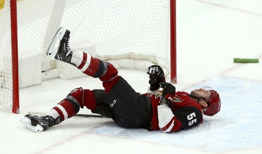 Coyotes defenseman Jason Demers suffered a season-ending, lower-body injury Nov. 18 against the Predators.   Ross D. Franklin/AP