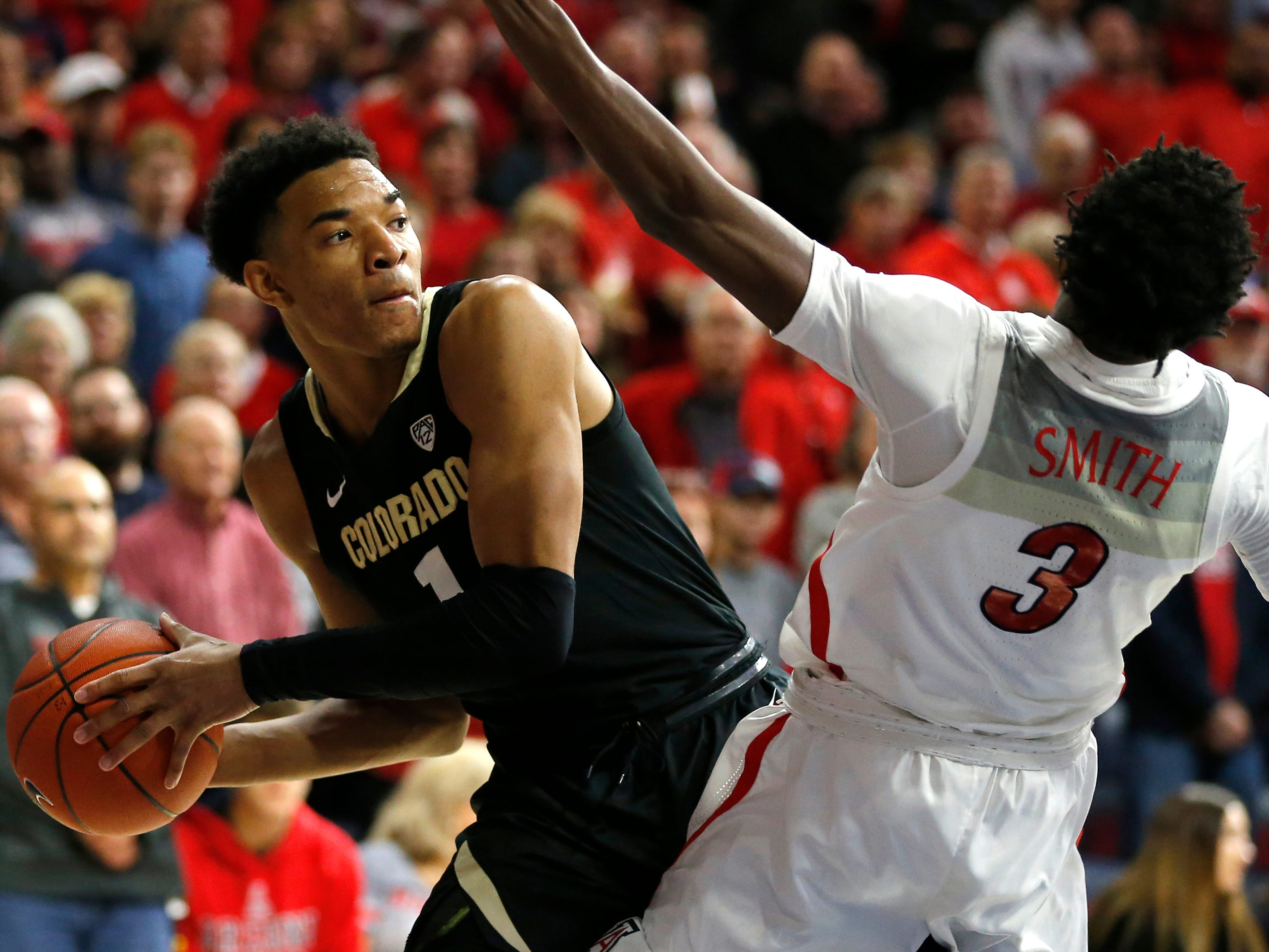 Colorado guard Tyler Bey (1) in the first half during an NCAA college basketball game against Arizona, Thursday, Jan. 3, 2019, in Tucson, Ariz. (AP Photo/Rick Scuteri)