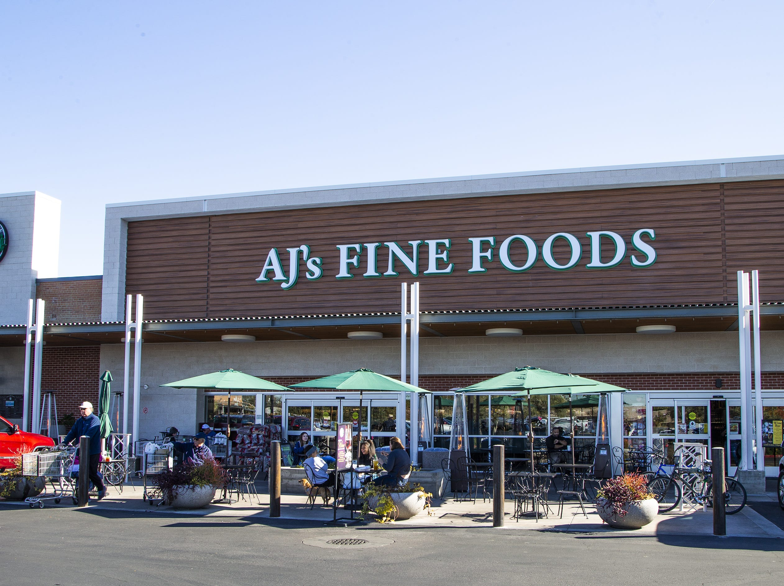 AJ's Fine Foods is an upscale grocery store at Uptown Plaza, a strip mall at the intersection of Camelback Road and Central Avenue in Phoenix.