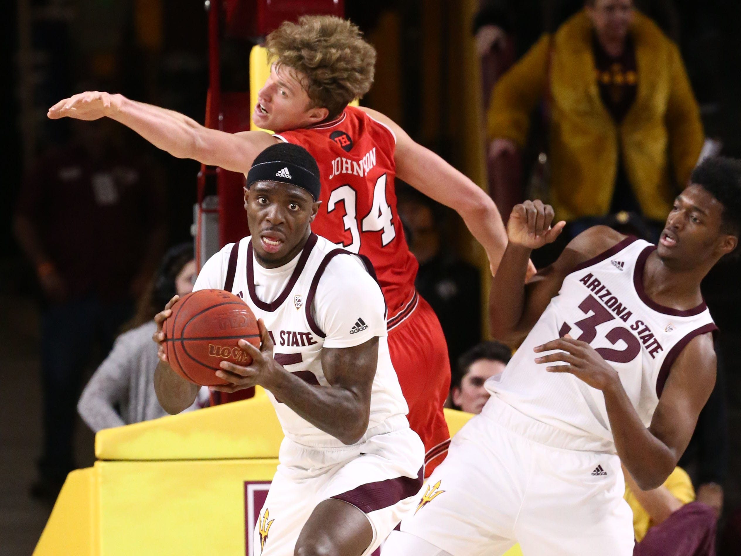 Arizona State Sun Devils forward Zylan Cheatham rebounds the ball against the Utah Utes in the first half on Jan. 3 at Wells Fargo Arena in Tempe.