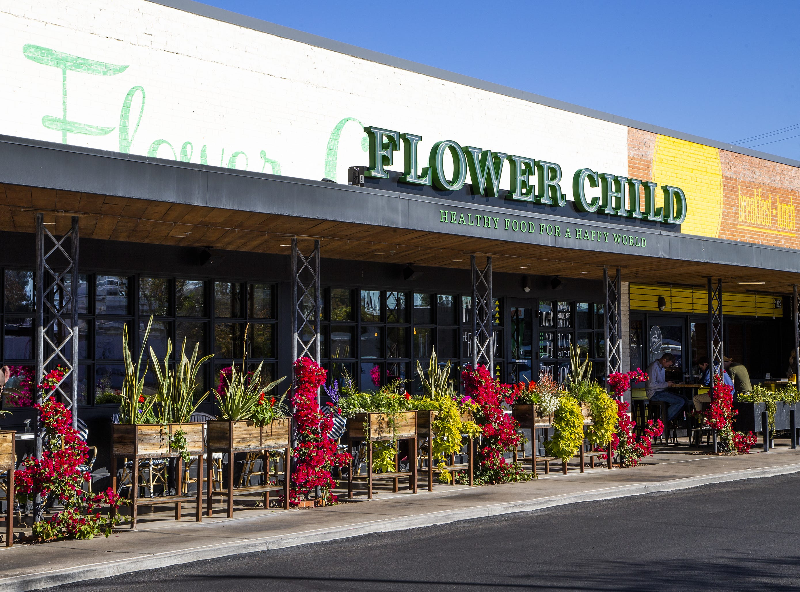 Flower Child is a restaurant at Uptown Plaza, a strip mall at the intersection of Camelback Road and Central Avenue in Phoenix.