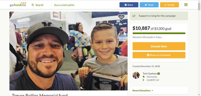 A GoFundMe for Gilbert resident Trevor Rollins surpassed its $5,000 goal by more than double.