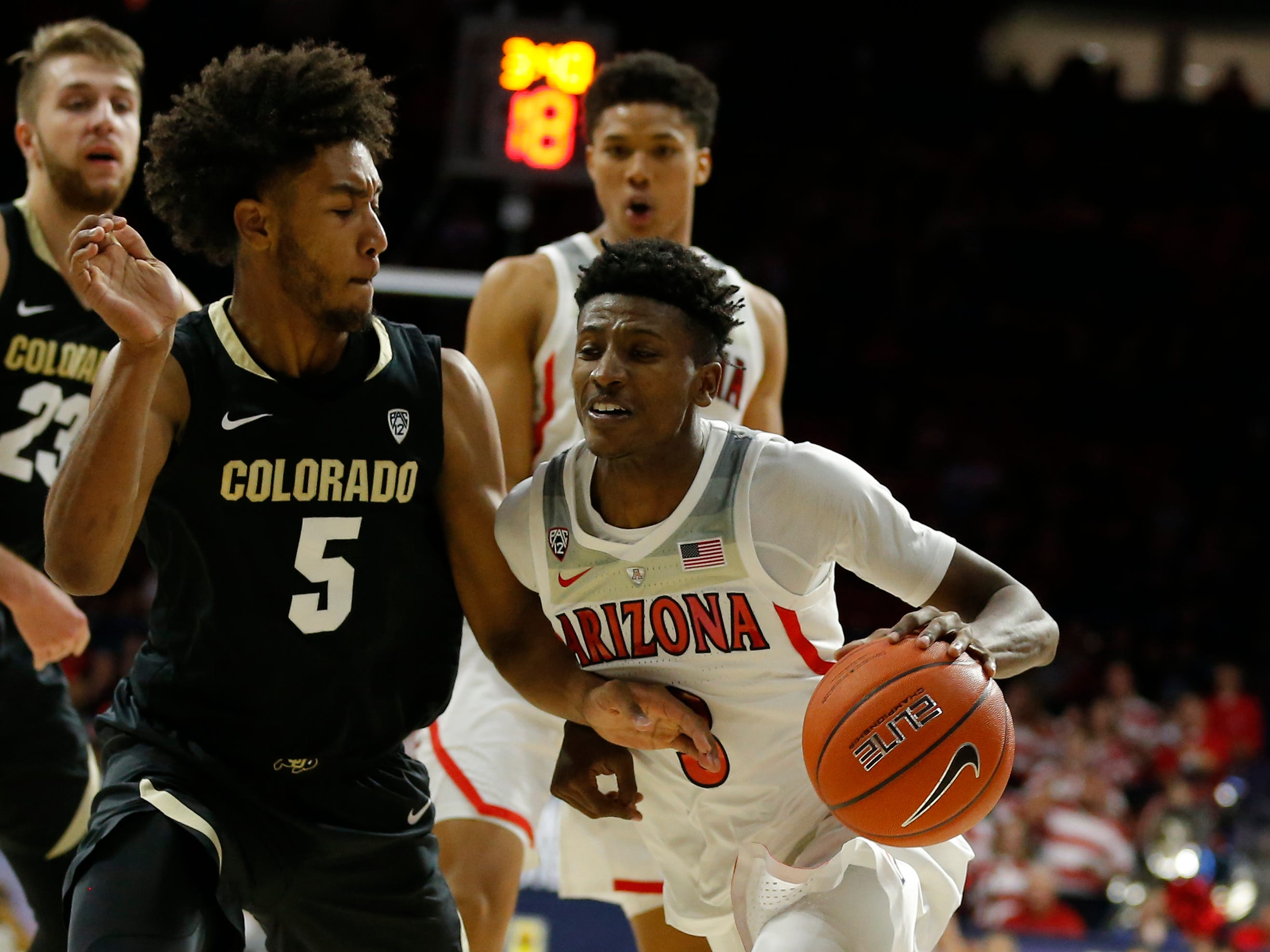 Arizona guard Dylan Smith (3) in the first half during an NCAA college basketball game against Colorado, Thursday, Jan. 3, 2019, in Tucson, Ariz. (AP Photo/Rick Scuteri)