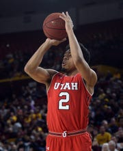 Utah Utes guard Sedrick Barefield (2) shoots against the Arizona State Sun Devils during the first half at Wells Fargo Arena Jan. 3. Utah will play Arizona Saturday at noon. Joe Camporeale-USA TODAY Sports
