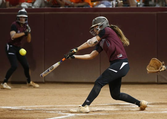 Hamilton's Macy Simmons connects for an RBI single against Pinnacle during the 6A high school softball state championship on May 15, 2017.