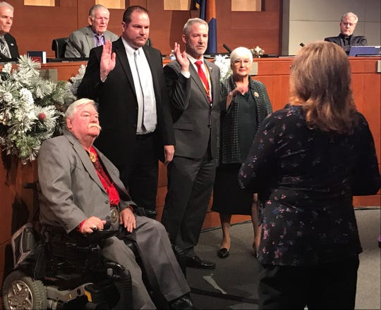 Surprise council members were sworn in by city clerk Sherry Aguilar on Jan. 3, 2019.