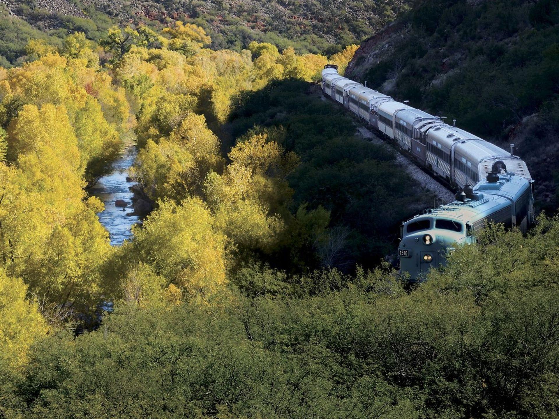 Puede ver los colores en las hojas de los árboles en otoño mientras viaja en el Verde Canyon Railroad.