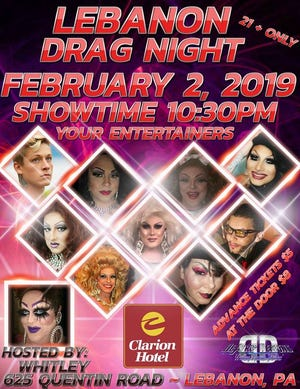 A poster for the upcoming Lebanon Drag Night on Saturday, Feb. 2 at Clarion Hotel.
