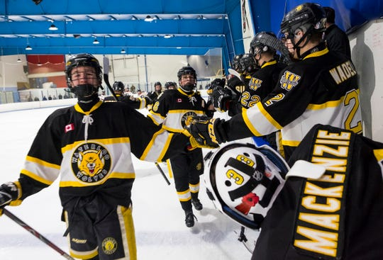 Waterloo Wolves players high-five to celebrate a shot made by defenseman Liam Eveleigh during their BAAA-A Silver Stick Finals match Friday, Jan. 4, 2019 at Glacier Pointe Ice Complex.