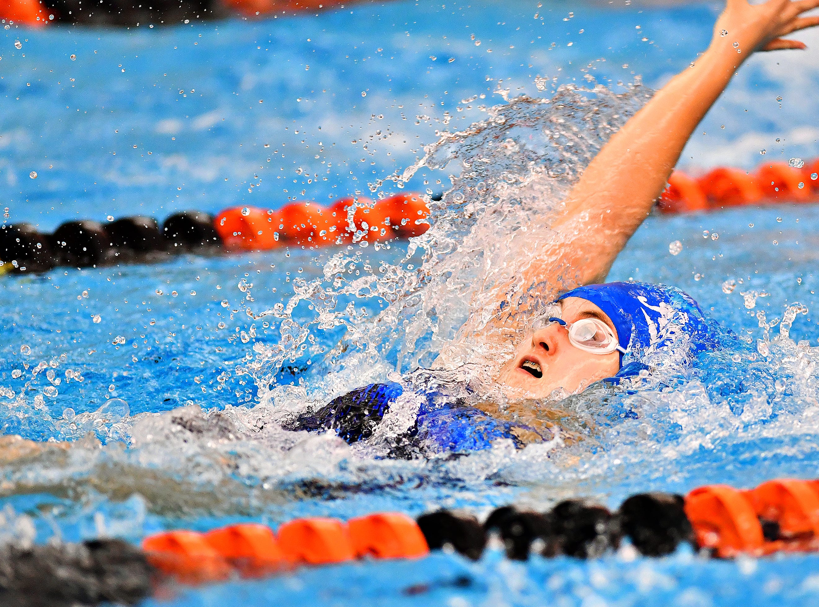 Spring Grove's Lizzie Bell competes in the 200 Yard Medley Relay during swimming action against Central York at Central York High School in Springettsbury Township, Thursday, Jan. 3, 2019. Dawn J. Sagert photo