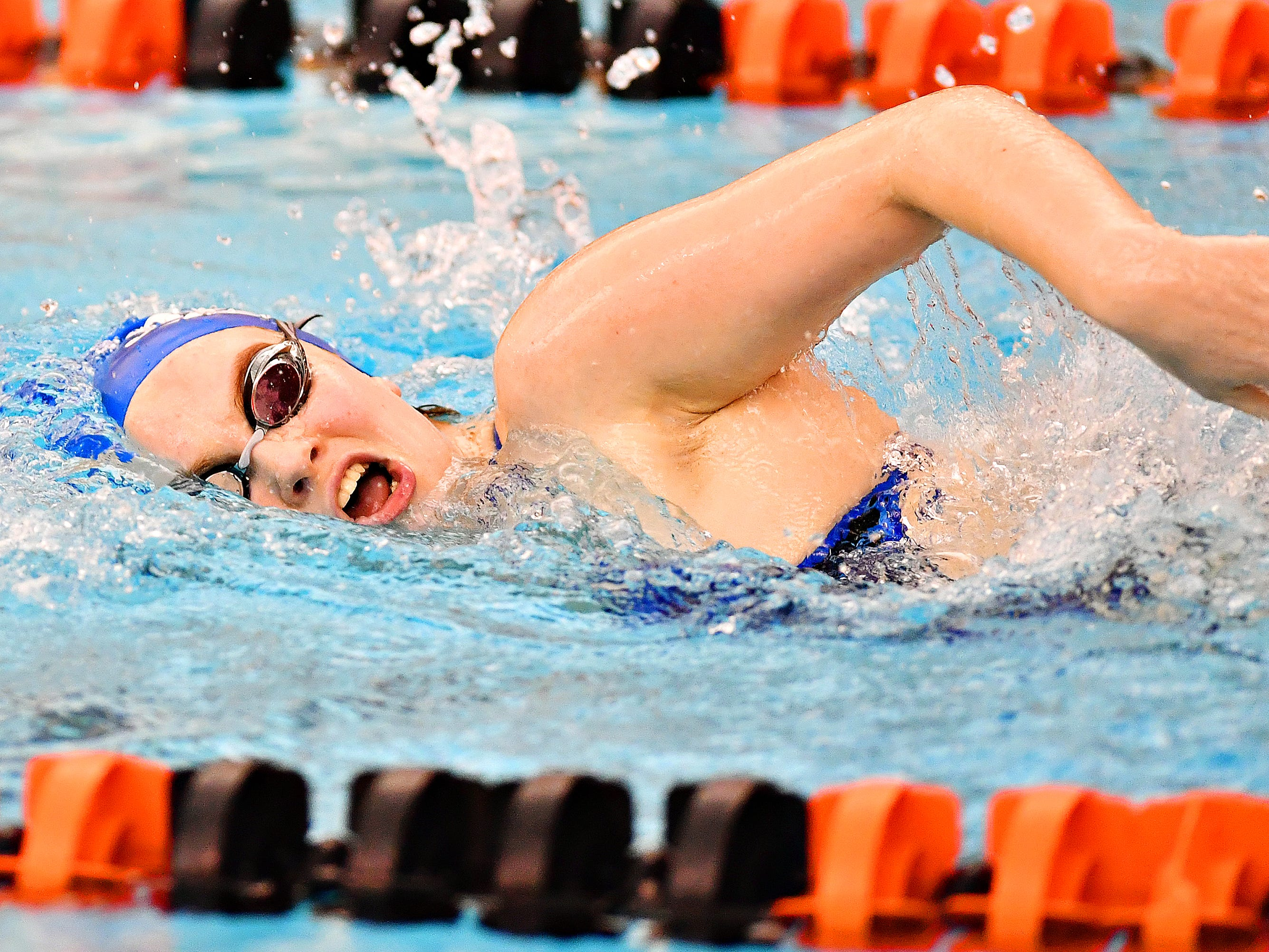 Spring Grove's Ella Calder competes in the 200 Yard Freestyle event during swimming action against Spring Grove at Central York High School in Springettsbury Township, Thursday, Jan. 3, 2019. Dawn J. Sagert photo