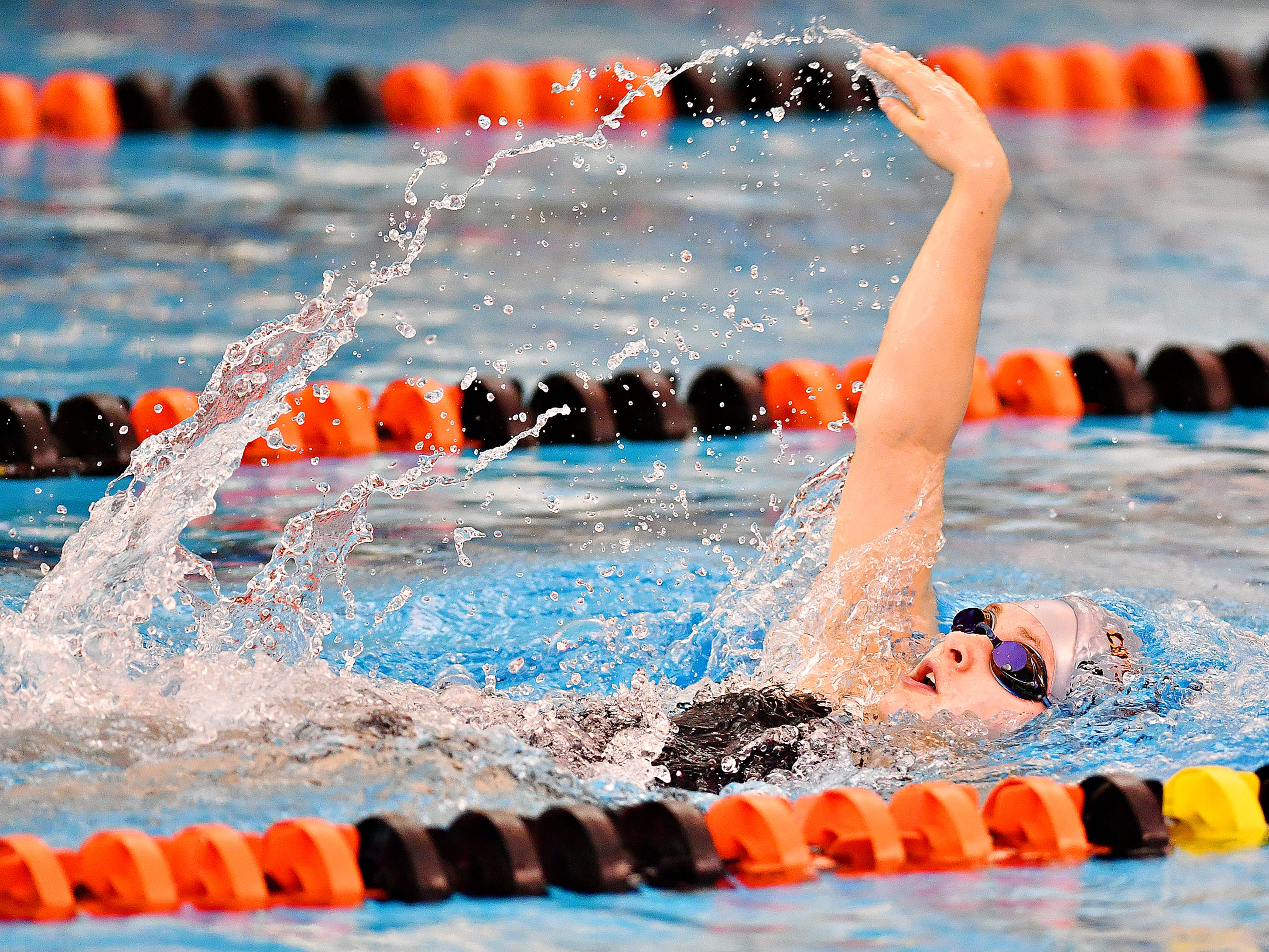 Central York's Sydney Ulmer competes in the 200 Yard Individual Medley during swimming action against Spring Grove at Central York High School in Springettsbury Township, Thursday, Jan. 3, 2019. Dawn J. Sagert photo