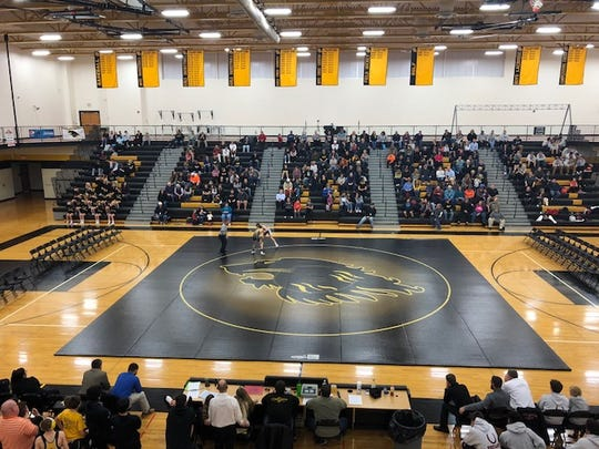 Red Lion's Fitzkee Athletic Center is used to holding large sporting events in York County. Here, the Lions JV wrestling team competes against South Western on Jan. 3.